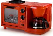 Americana 3-in-1 Breakfast Maker Station Coffeemaker, Toaster Oven, Red