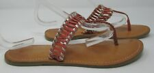 Warehouse size 6 (39) coral & gold platted leather toe post flip flop sandals