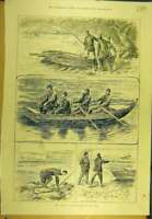 Original Old Antique Print 1889 Barclay-Field Fishing Tay River Fishermen Boat