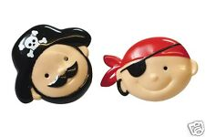 6 Pirate Face Cupcake Rings - Cake Decoration or Party Bags