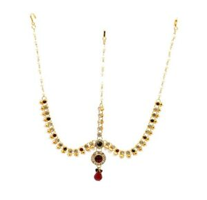 Indian Gold Plated Red Green Bridal Maang Tikka Matha Patti Head Piece Jewelry