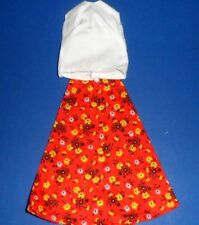 """Clone Darci Tammy RED CALICO SKIRT WHITE BLOUSE  Maxi Mod  FiT 12"""" doll 1970s"""