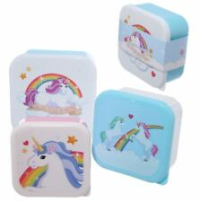 Set of 3 Lunch Boxes Enchanted Rainbows Unicorn Design Kids Children Food