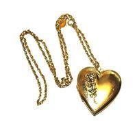 Vintage Heart Shaped Applique Locket Necklace PARK LANE Signed Applique Flowers