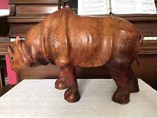 Large 22�x 14�x 9� Vintage Leather Wrapped RhInoceros Animal Figure Statue Rhino