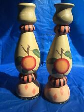 2 Wooden Hand Painted Candle Holder Candlestick 10� Peach Made In Philippines