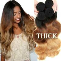 Extra Thick 3BUNDLES=300G Ombre Brazilian Virgin Human Hair Extensions Weave US