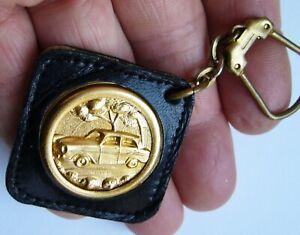 Ancien porte clé cuir et métal Automobile SIMCA Garage Guilbert PUTEAUX An. 60