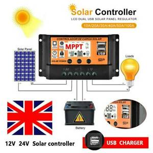 10/20/50/100A LCD MPPT Solar Panel Battery Regulator Charge Controller Dual USB
