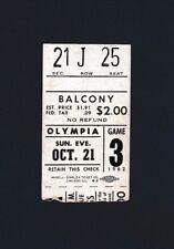Red Wings vs Blackhawks 1962 hockey ticket stub - Sawchuk win