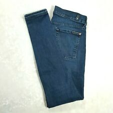 7 FOR ALL MANKIND Womens THE SKINNY Mid Rise Skinny Jeans Dark Wash Size 27 REG