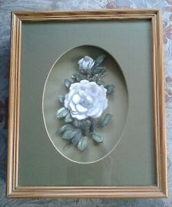 """3D decoupage pale blue rose flower picture in shadow box framed 11"""" x 9"""""""