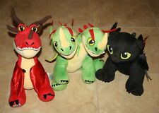 lot 3 HOW TO TRAIN YOUR DRAGON Build A Bear Plush Barf Belch Toothless Hookfang
