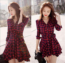 Women Plaid Check Romper Shirt Dress Ladies Party Cocktail Dress Blouse Tops Red