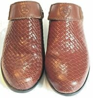 ARIAT Sz 6 Brown Woven Leather Convertible Slingback Western Sport Mules Clogs