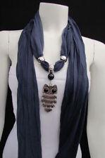 Women Dark Blue Girly Scarf Fashion Necklace Soft Fabric Scarf Owl Pendant