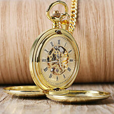 Double Hunter Gold Smooth Roman Numerals Mechanical Hand Wind Pocket Watch Chain