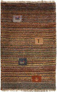 Multicolored Modern Tribal Handmade Small 2X3 Plush Gabbeh Rug Kids Room Carpet