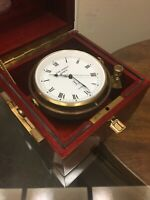 Rare Jean Lassale Marine Chronometer Clock Brass & Wooden Box 1975 -Works