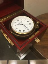Rare Jean Lassale Marine Chronometer Clock Brass & Wooden Box 1975 -Works