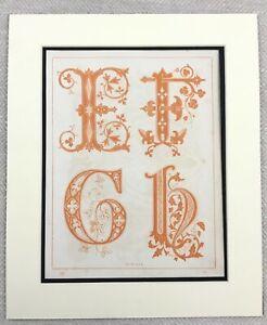 1859 Print Victorian Typography Orange Lettering Initial Monogram Letter E F G H