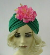 Emerald Green Pink Peony Flower Turban Floral Hair Cover Vintage Style Hat 0281