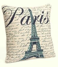 FRANCE PARIS SCRIPT ACCENT PILLOW : CHIC FRENCH EIFFEL TOWER LINEN TOSS CUSHION