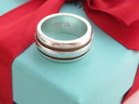 Tiffany & Co Silver Atlas Groove Ring Band Size 6.5