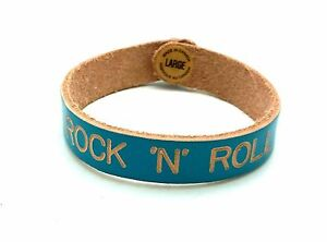 """Rock N Roll Leather Bracelets Engraved Turquoise Large 8"""" Canada / Italy"""