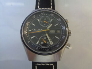 Citizen Chronograph Mens Watch Day & Date Automatic Black Dial Side Crown Arabic