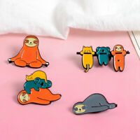 Cartoon Sloth Koala Cat Animal Flash Enamel Badge Brooch Lapel Pins Denim Bag