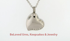Stainless Steel Heart w/ 12 Stones Cremation Jewelry Pendant Urn- Funnel & Chain