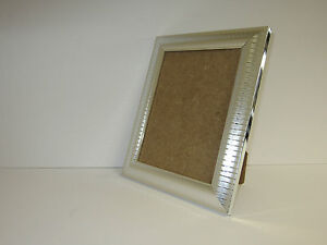 Two Tone Silver 5x7 Picture Photo Frame Free Standing
