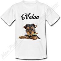 T-shirt Enfant Chien Yorkshire avec Prénom Personnalisé