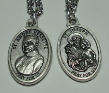 "St Brother Andre Bessette & St Joseph Holy Medal on 24"" Chain Canadian Saint NEW"