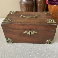More details for super antique mahogany and brass mounted tea caddy lead lined and working key