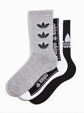 Adidas Originals Trefoil Crew Socks New 3 pairs grey black white sz 6-12