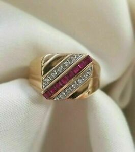 Men's Channel Set Engagement & Wedding Ring 0.85Ct Ruby 14K Yellow Gold Filled