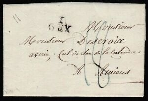 """FRANCE 1824 ENTIRE LETTER WITH FINE """"I / GEX"""" (AIN) HANDSTAMP TO AMIENS"""