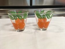 Vintage Pair Of Orange Juice Glasses