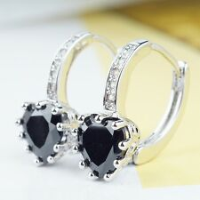 """Platinum Silver """"Full Heart"""" CZ Crystal Mother's Day Earrings Jewelry"""