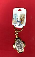 St Saint Christopher Medal  Key Chain (Gold + silver tone)