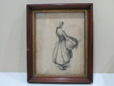 """Antique Framed Pencil  Sketch Drawing, Young Lady, 12"""" x 10"""""""