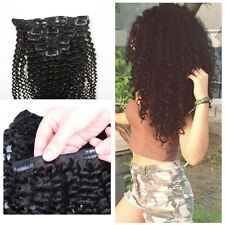 "Afro Kinky Curly Clip in Human Hair Extensions 10pcs/set 120g Clip Ins 10""-28"""