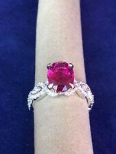 Ladies Pink Tourmaline, Diamond & 18k White Gold Ring