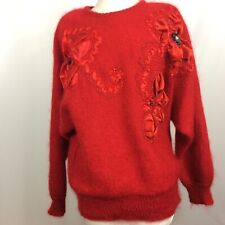 Fully Fashion Sweater Red Mohair Wool Blend Embellished Shoulder Pads Size M