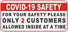 19COVID ONLY 2 TWO CUSTOMER SAFE ZONE DECAL STICKER FOR BUSINESS AND OFFICE