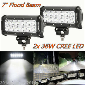 2X 36W LED Offroad Work Light Bar Flood Beam Driving Fog Lamp 4x4 SUV Truck