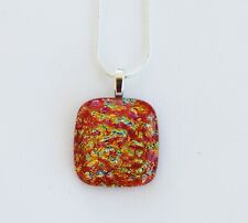 HANDMADE FUSED DICHROIC GLASS PENDANT NECKLACE JEWELLERY HANDMADE GIFTS