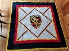 Porsche Emblem handmade quilt, car numbers along border, black, red, white, gold